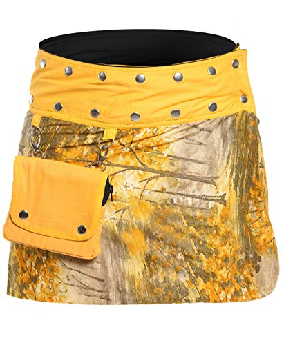 ufash Minirock aus Indien, Sommerrock kurz, Wenderock, Wickelrock Goa Gypsy Hüftschmeichler, Ocker (Strumpfhose Mini-rock)