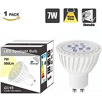 Alta Luminosità Lampadine Faretti a LED GU10 Dimmerabili 7W Lampade Spot GU10 LED Luce Bianco Caldo 3000K Lot di 1 di Enuotek