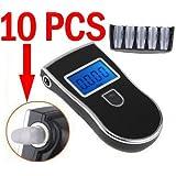 Xgeek 10 x Alcoholemia desechables Boquillas para Policía Alcoholímetro Digital Alcohol Breath Tester