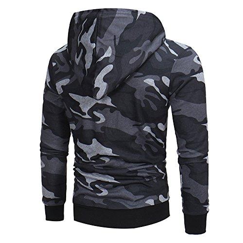TianWlio Hoodie Mode Herren Herbst Winter Herren Langarm Camouflage Hoodie Kapuzenpulli Tops Jacken Mantel Outwear Grau M Paisley Vintage Mantel
