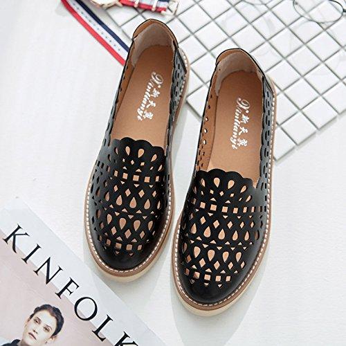 RUGAI-UE Estate sandali donne piede cavo Set Scarpe dello studente Black