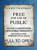 Metallschild im Retro-/Vintage-Stil mit Dr. Who-Motiv (engl. Version), Polizei-Telefonbox/Tardis-Motiv, 20,3 x 30,5 cm