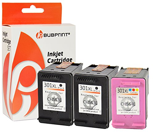 Bubprint 3 Druckerpatronen kompatibel für HP 301 XL 301XL für DeskJet 1000 1050 1510 2050 a 2510 2542 2544 2545 3050 3055a Envy 4507 5530 Multipack