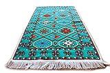 Damaskunst Teppich 65cm x 120 cm,Türkis Blau,Weiß Orange,Kelim Orient,Wand Teppich,Carpet, Rug,Waschbar, RS 1-2-20
