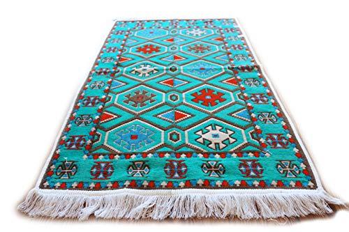 Damask Unst Alfombra 65cm x 120cm, Turquesa Azul, Color Blanco Nar