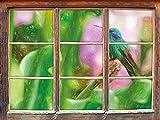 Hummingbird dans son effet de crayon d'art de l'habitat naturel Fenêtre en 3D look, mur ou format vignette de la porte: 92x62cm, stickers muraux, sticker mural, décoration murale