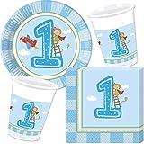 37-Teiliges Partyset * 1. Geburtstag Junge * für Den Ersten Kindergeburtstag // mit Teller + Becher + Servietten + Luftballons // Kinder Deko Dekoration Party