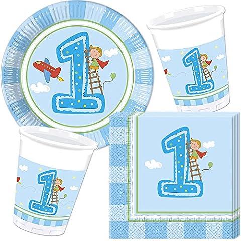 37-teiliges Partyset * 1. GEBURTSTAG JUNGE * für den ersten Kindergeburtstag // mit Teller + Becher + Servietten + Luftballons // Kinder Deko Dekoration