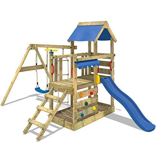WICKEY Spielturm TurboFlyer Kletterturm Spielplatz mit Sandkasten Schaukel Kletterwand und Strickleiter, blaue Rutsche + blaue Plane