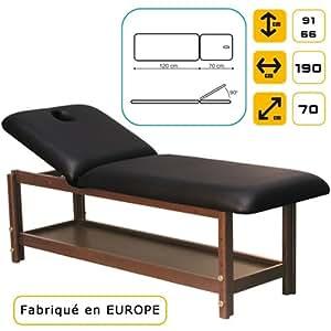Lit de massage Luxe en bois, hêtre Massif foncé Marron marbré