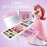 Waroomss Disney 56-teiliges Mädchen-Kosmetikspielset mit Spiegel | Waschbar & nicht giftig | Princess Real Makeup Kit mit Etui | Ideales Geschenk für Kinder