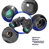 CITW Binocolo 10x50 binocolo Impermeabile per Visione Notturna con telemetro Illuminato Custodia e Cinturino per Bussola BAK4 Porro Prisma per Adulti (Nero)