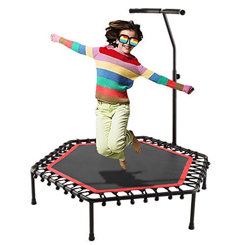 Buyi-World Trampolin mit Haltestange Fitness Trampolin Elastisch Faltbar 113 cm Durchmesser, Unterstützung bis zu 220 kg (Schwarz)