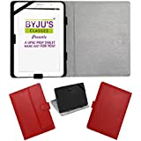 ACM Leather Flip Flap Case For Byju Learning Tab 10 Inch Tablet Cover Stand Red