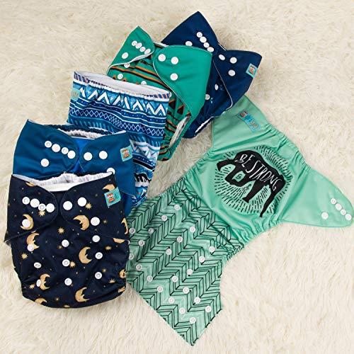 Beb/é de tabla para dise/ño de juego de pajas DE se puede lavar a juego de bolsillos de almacenaje de tela impermeable y 6 piezas bolsa de pa/ñales de 12Inserts blanco roto pack 12 Talla:All in one