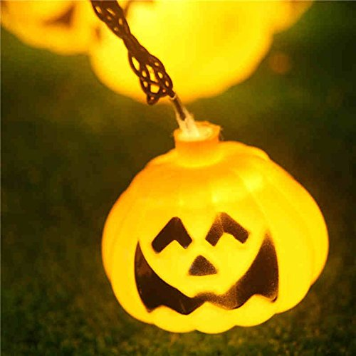 Warmes Weiß, GroßZüGig Ledgle Halloween Lichterkette 6m Solar Halloween Dekoration Licht Garten & Terrasse