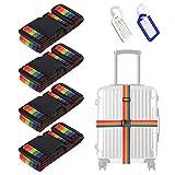 4 Pezzi Cinghie da Viaggio Bagagli Imballaggio Cintura Valigia Cinghie Regolabile Sicurezza per Bagaglio cintura a scatto regolabile e antiscivolo per bagaglio da viaggio, con 2Pcs Etichetta Bagagli