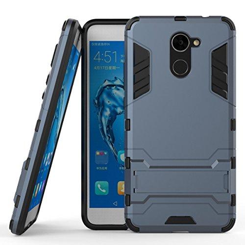 Huawei Y7 Prime Hülle, SsHhUu Stoßsichere Dual Layer Hybrid Tasche Schutzhülle mit Ständer für Huawei Y7 Prime / Huawei Enjoy 7 Plus (5.5 Zoll) Blau Schwarz