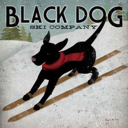 Feelingathome- imprimer-sur-toile-100%coton-Black-Dog-Ski-cm57x57-affiche-reproduction-gravure-