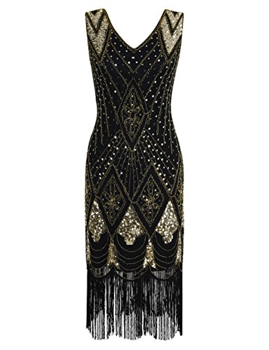 PrettyGuide Damen 1920er Gatsby Art Deco Pailletten Cocktail Charleston Kleid XL Gold