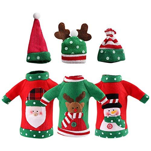 Xigeapg 3 stuecke hassliche Weihnachtsstrickjacke Weinflasche Abdeckung, Handgefertigte Weinflasche Pullover Fuer Weihnachtsschmuck