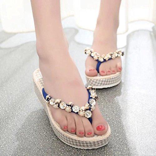 Ouneed® Flip Flops Damen Erwachsene Zehentrenner , Damen Sommer flachen Flip Flops Sandalen Slipper Böhmen Schuhe Blau