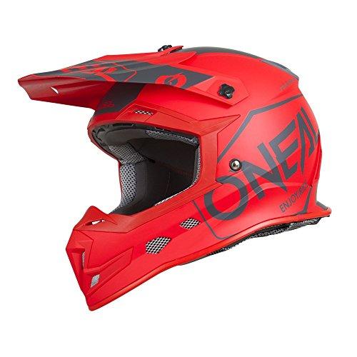 O'Neal 5Series Hexx Motocross Helm Motorrad MX Enduro Trail Quad Cross Bike Offroad FR DH, 0618, Farbe Rot, Größe L (Helm Nasenschutz Motorrad)