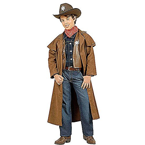 Boys Suedelook Cowboy Child 128cm Costume Small 5 to 7 yrs (128cm) for Wild West Cowboy Fancy Dress (Fancy Dress Sport)
