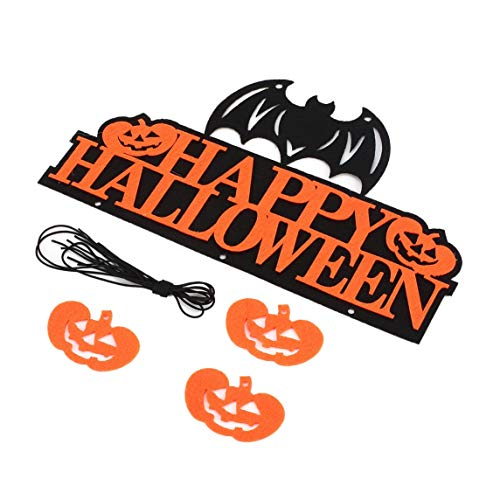Footprintse Halloween Maske gruselige Gesichtsmaske Happy Halloween Banner Kürbis hängende Flaggen Ornament Party Wall ()