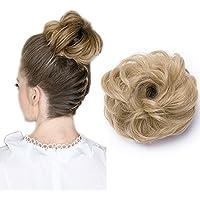 Moño Postizo Rizado con Goma - Grueso y Natural - Coletero Peinado Alto Extensiones de Pelo