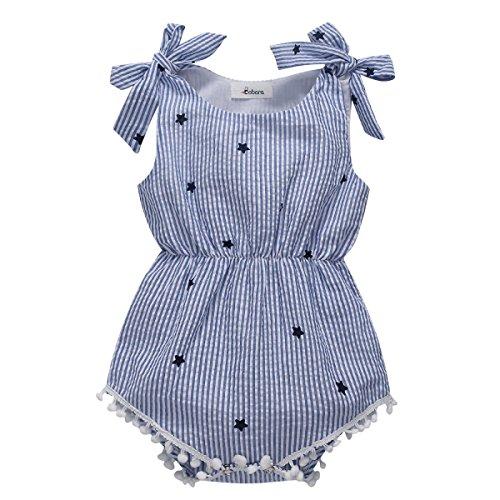 MiyaSudy Neugeborene Baby Mädchen Kleidung Prinzessin Bowknot Gestreift Sommer Party Spielanzug Strampler Bodys Einteiler (12-18 Monate) -
