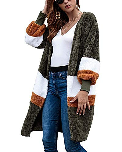 Minetom Damen Strickjacke Cardigan Pullover Blazer Jacke Mantel Tops Casual Outwear Irregulär Cardigan Asymmetrisch Langarm Loose mit Taschen Grün DE 34