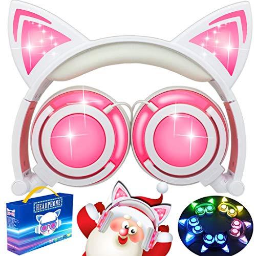 Cuffie AMENON Kids Cat Ear, auricolari pieghevoli con luce a LED USB Volume ricaricabile Volume limitato Cuffie da gioco Compatibili con Tablet Phone Tablet per ragazze Ragazzi Bambini Natale