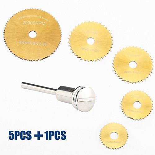 SYCEES Juego Disco corte HSS, 5 discos diferentes tamaños y 1 soporte