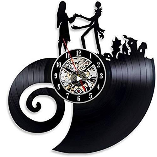 Rjjrr Vinyl Evolution Nightmare Before Christmas Love Wanduhr Led Mit 7 Farben Wohnkultur-LED