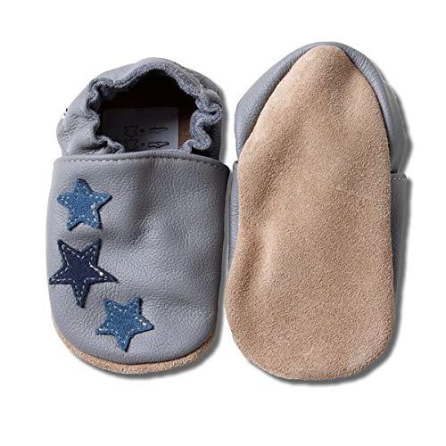 HOBEA-Germany Baby Krabbelschuhe, Lederschuhe, grau mit blauen Sternchen, Schuhgröße:24/25 (24-30 Monate)