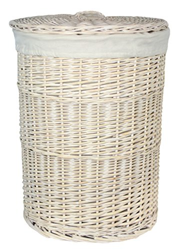 Red cesto grande wash rotondo bianco portabiancheria con un rivestimento bianco, in vimini