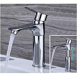 LAVENDI - Robinet mitigeur lavabo extensible pour évier de salle de bain I Lave-mains wc ou cuisine I eau froide et chaude I En cuivre - chromé