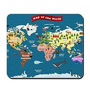 CafePress–mapa del mundo para niños–permite explorar–antideslizante de goma ratón, ratón para videojuegos