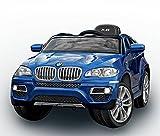 RIRICAR BMW X6 Blau Lackiert Luxury, Weiche EVA Räder, Original Linzensiert Kinderfahrzeug Kinder Elektroauto Kinderauto, 2x Motor, 12-V-Batterie, mit 2,4 GHz Fernbedienung