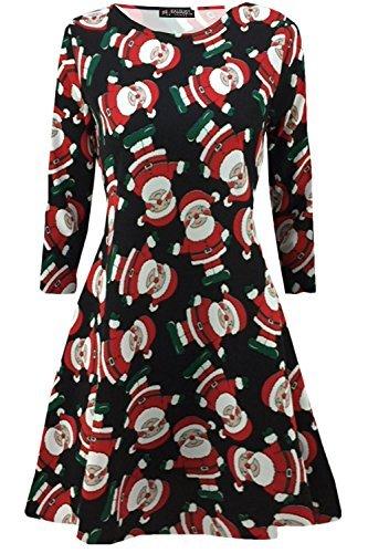 Neuf Femme Mini Robes Sapins De Noël Noël Père Noël Bonhomme De Neige Renne Rudolphe Cadeau Cloches Présent Femmes Couvercle À Bascule Noir motif Père Noël