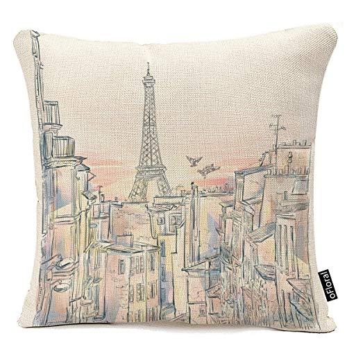 ale huang Dekorative Dekokissenbezüge Sunrise Theme Dekokissenbezüge Paris Romantic Morning Dawn Eiffel Sunlight Tower Gebäude Dekokissen Cases Couchbezüge Dekoration, 45X45 cm