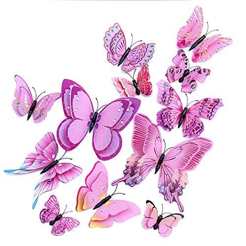 Wandaufkleber 12PCS Entfernbarer Schmetterling Wandaufkleber 3D Schmetterlingsmuster Wanddekorationen Für Kinder Schlafzimmer Klassenzimmer Und TV Hintergrund