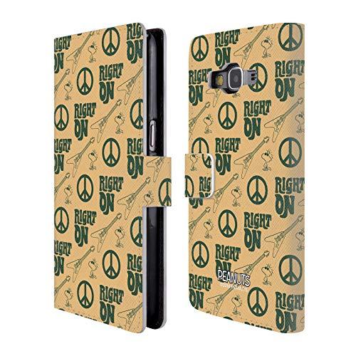 Head Case Designs Offizielle Peanuts Right On Pattern Woodstock 50th Brieftasche Handyhülle aus Leder für Samsung Galaxy Grand Prime