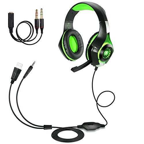 BlueFire Upgraded 3.5mm Wired Gaming Headset Bass Stereo Over-ear Headphone with Mic and LED Light for PS4 / Xbox One S / Xbox One / Nintendo Switch / PC / Computer / Phones (Green in Black)
