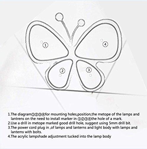 Kronleuchter Deckenleuchten Rosa Schmetterling, niedlich LED Deckenleuchten für Wohnzimmer Schlafzimmer Mädchen und Babys - 5