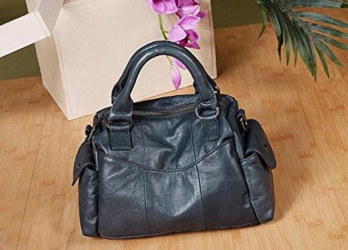 Damen Tote Handtasche Solide Leder Damenmode Shopping Casual Out Handtasche Blue