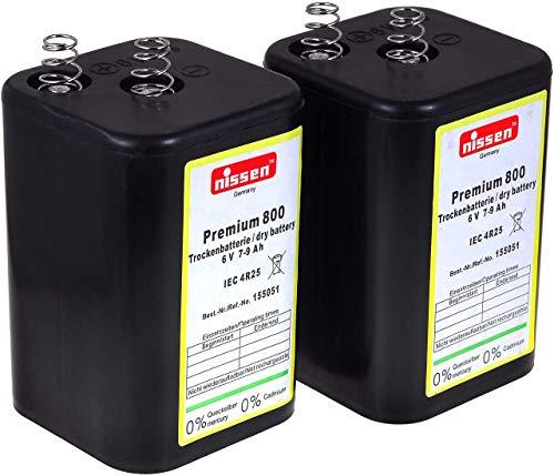 4R25 6V-Blockbatterie Ersatz für Nissen Trockenbatterie, Laternenbatterie IEC 4R25, Campingbatterie, (Nissen 6V-Block 2er Set)