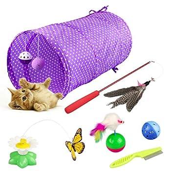 Kitten Pack de Jouets pour Chat, Yokunat Ensemble de Jouets Comprenant Tunnel, Bâton de Chat Drôle, Papillon Electrique et Plus, Jouets Kitty Mignons 6 Pièces