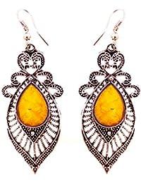 SKN Multicolour Party Fashion Dangle & Drop Antique Oxidised Earrings For Women & Girls (SKN-4066YLW)